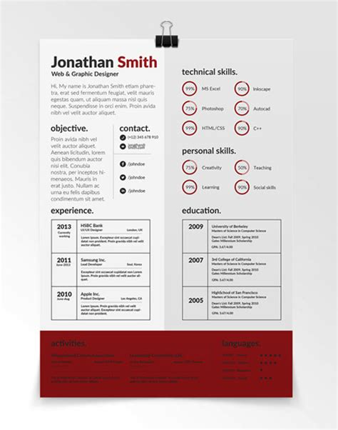 Simple One Page Resume Sample by 115 Best Free Creative Resume Templates Download