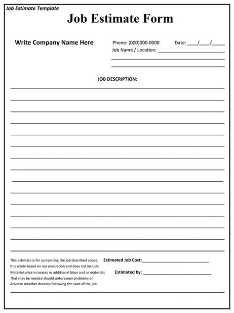 44 free estimate template forms construction repair