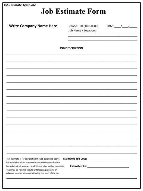44 Free Estimate Template Forms [Construction, Repair