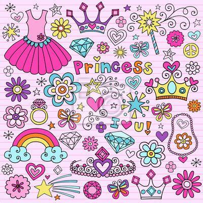 doodle name tiara fotomural princesa tiara notebook moda doodle vector icon