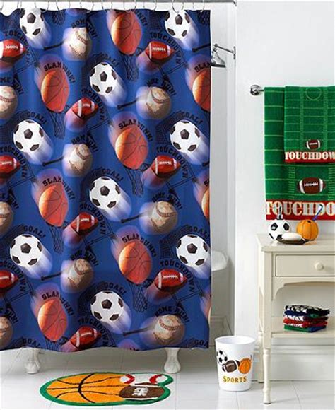 sports themed shower curtains bathroom accessories sets for kids sports theme boy s