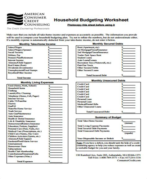 home budget template 8 home budget templates free word pdf format