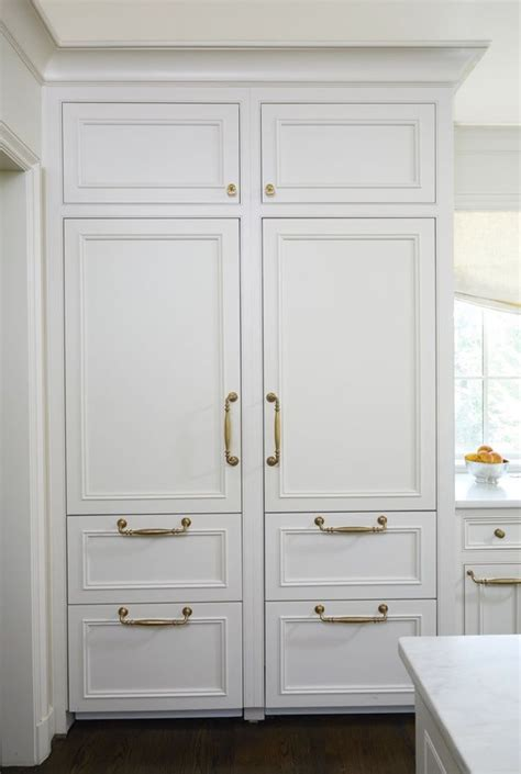 refrigerator with cabinet doors stately subdued a white kitchen kitchens i