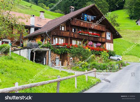 typical home typical swiss wood house decorations flowers stock photo 221383834