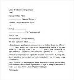 Letter Of Intent Posting Sle Letter Of Intent For Employment Templates 7 Free Documents In Pdf Word