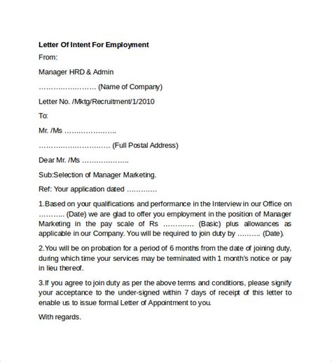 sle letter of intent for employment templates 7