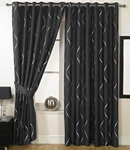 Black And Silver Kitchen Curtains Black Silver Eyelet Curtains Embroidered Faux Waves 66 X 108 Co Uk Kitchen Home