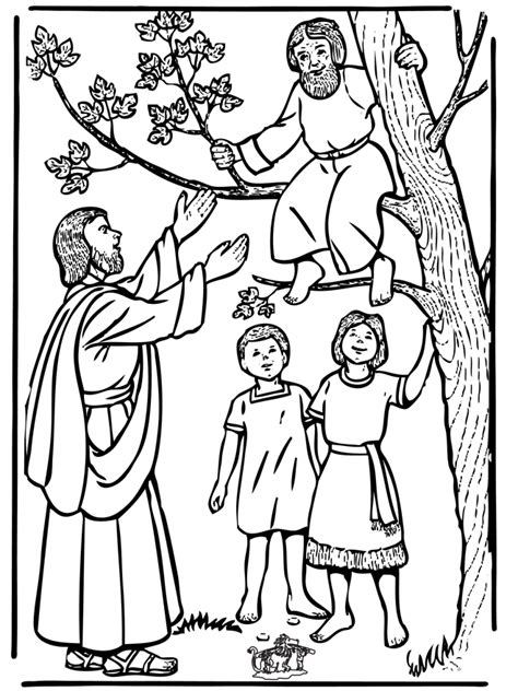 coloring pages story zacchaeus jesus and zacchaeus coloring page coloring home