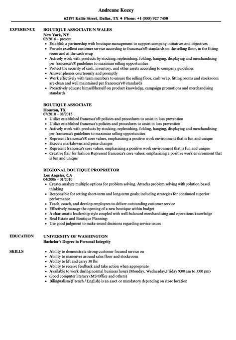 boutique resume sle resume ideas