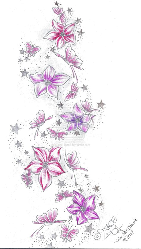 flower star tattoos flower butterflies color by 2face on deviantart