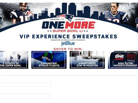 Superbowl Sweepstakes - patriots super bowl sweepstakes