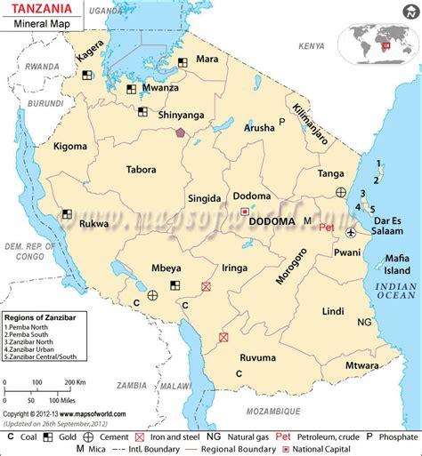 tanzania mineral map natural resources  tanzania