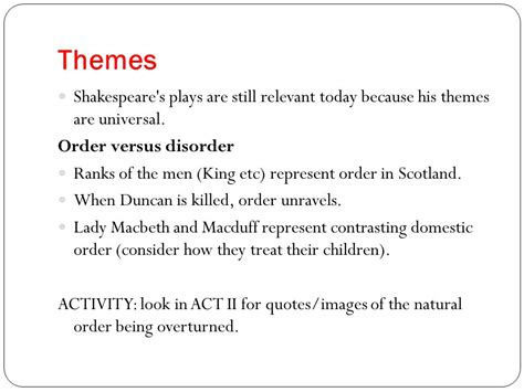 macbeth themes disorder macbeth ppt download