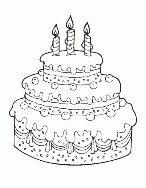 printable cake happy birthday coloring pages