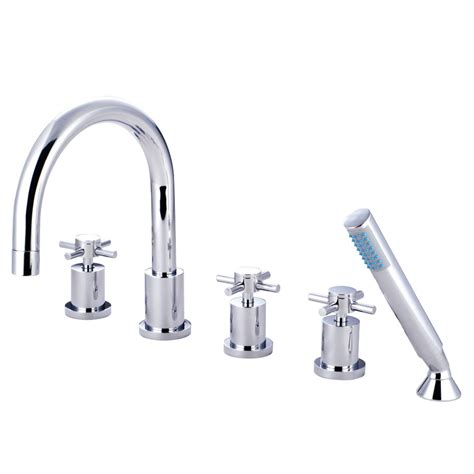 roman tub faucet with hand shower for 5 hole tub 6045 kingston brass ks83215dx concord 5 piece roman tub filler