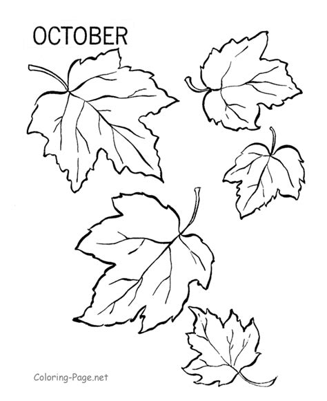 fall coloring book page october leaves