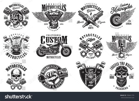 Set Vintage Custom Motorcycle Emblems Labels Stock Vector 709641775 Shutterstock Motorcycle Logo Design Templates