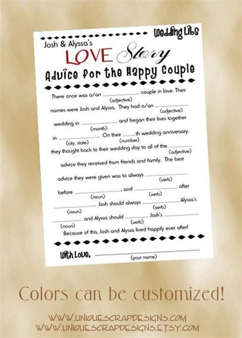 mad libs for wedding guests story wedding mad libs wedding ideas