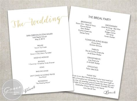 program card wedding template one page wedding program template template business
