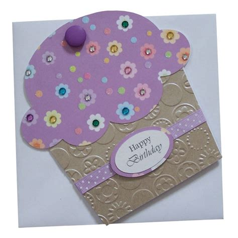Shaped Handmade Cards - handmade cupcake shaped birthday card folksy march