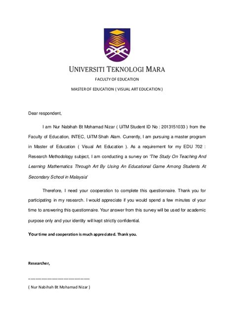 format proposal uitm questionnaire for proposal