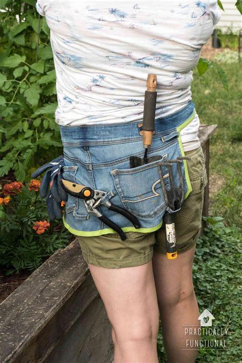 diy gardening apron   jeans