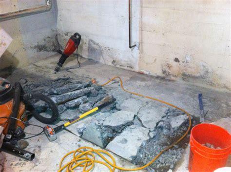 Cutting Basement Floor For Plumbing by Basement Progress Adding A Bathroom Chezerbey