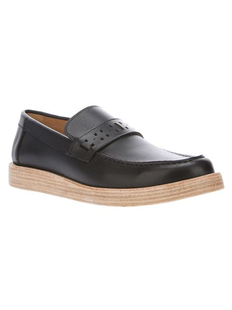 bottom loafers for lyst marc thick sole loafer in black for