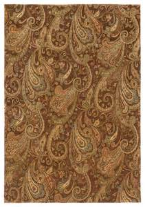 weavers huntley floral paisley wool brown gold
