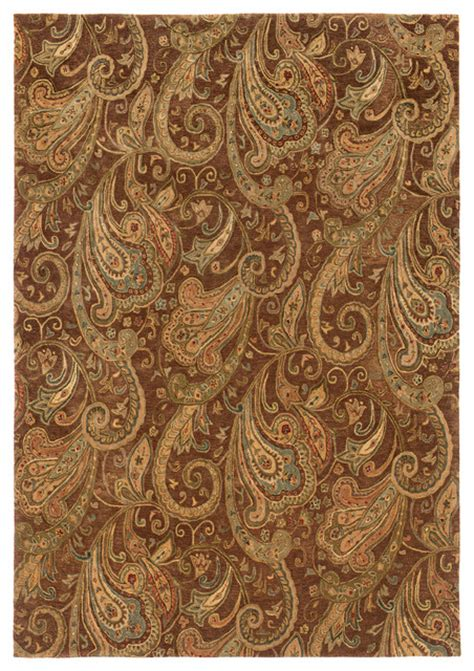 Paisley Area Rug Weavers Huntley Floral Paisley Wool Brown Gold Rug Traditional Area Rugs By