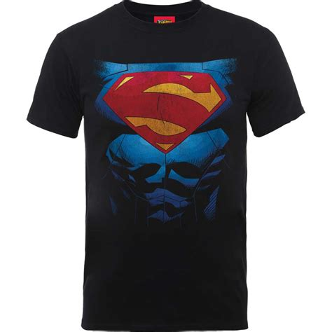 T Shirt Bodyfit Superman Gold dc comics mens black tshirt superman pectacular logo