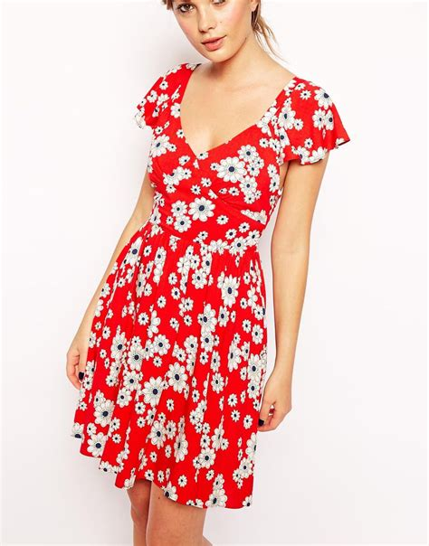 Flowery Dress lyst asos exclusive ruffle sleeve tie back floral skater dress in