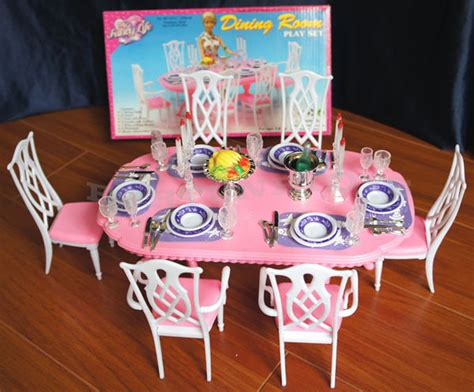barbie dining room gloria doll furniture barbie new dining room 6 chair w