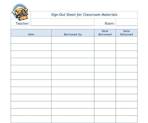 sign in sign out sheet template