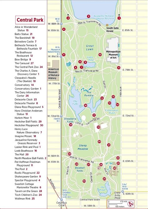 tourist map of central central park attractions map new york in april