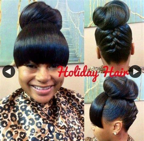 natural hair bun styles with bang bun and bang pinteres