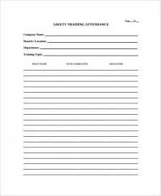 sample attendance list template 9 free documents