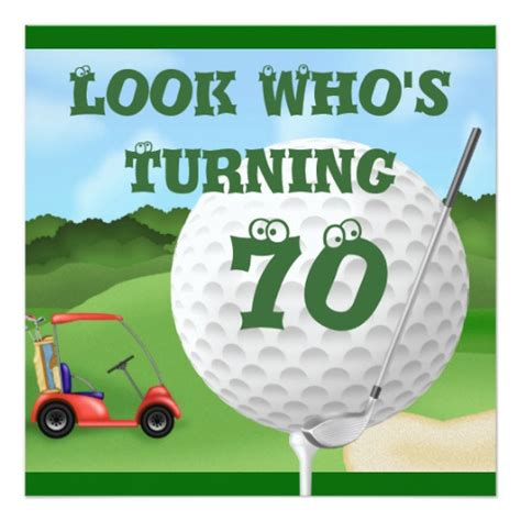 printable birthday cards golf theme fun golf 70th birthday invitations template zazzle
