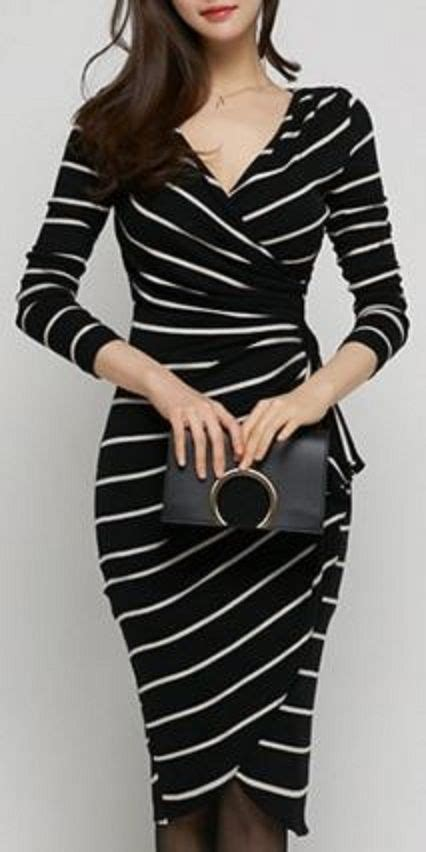 Dress Stripes v neck sleeve slimming striped s wrap