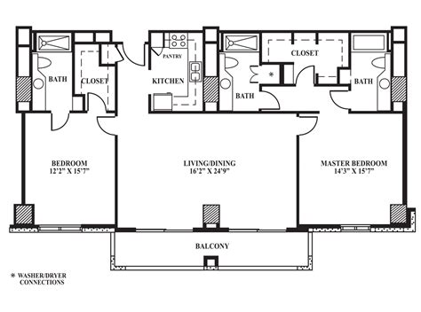 Floor Plans 3 Bedroom 2 Bath floor plan h 1 408 sq ft the towers on park lane