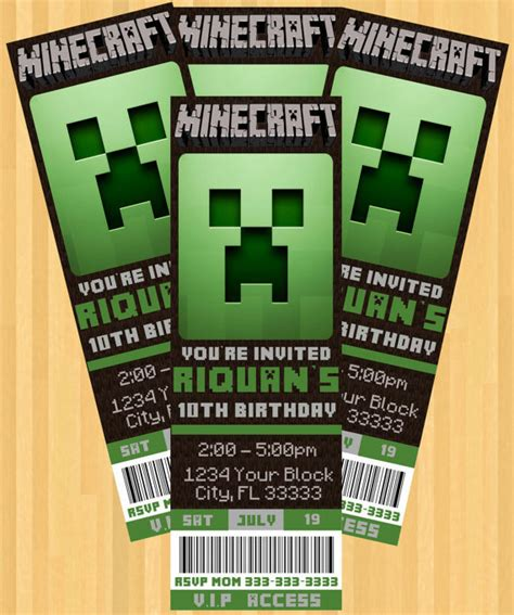 minecraft invitation template minecraft birthday invitations theruntime