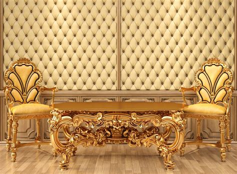 european luxury bedroom furniture and walls 3d