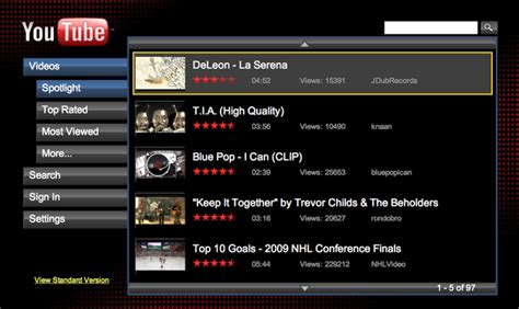 accessing youtube xl on the television youtube xl is targeting your television music ally