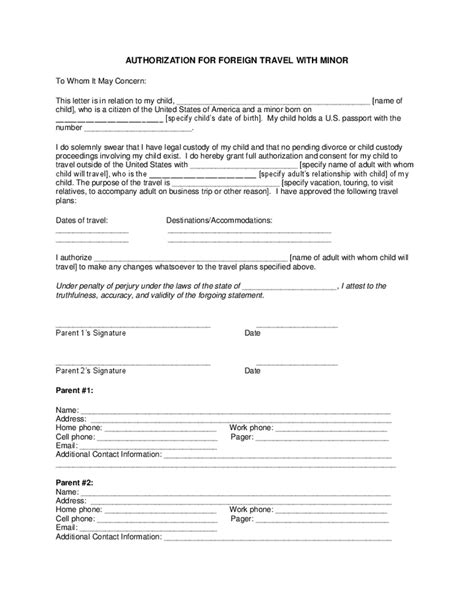 authorization letter for child to travel alone authorization for foreign travel with minor hashdoc