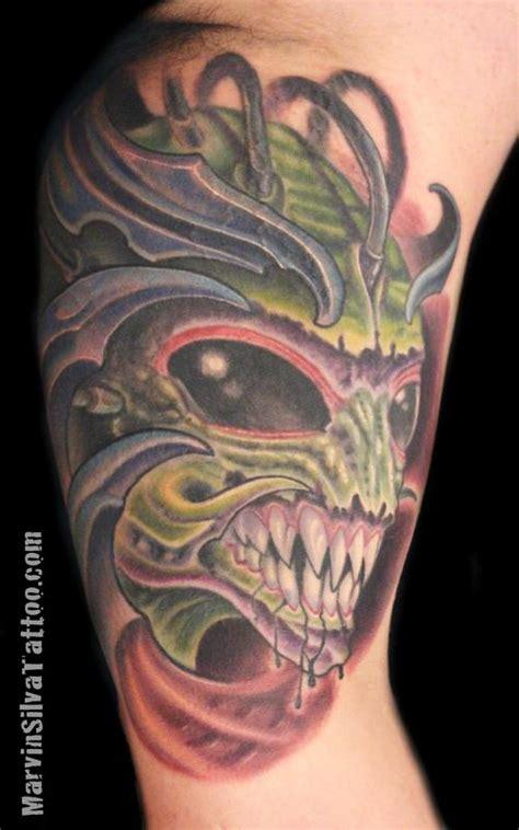 new school alien tattoo bio organic alien tattoo by marvin silva tattoos
