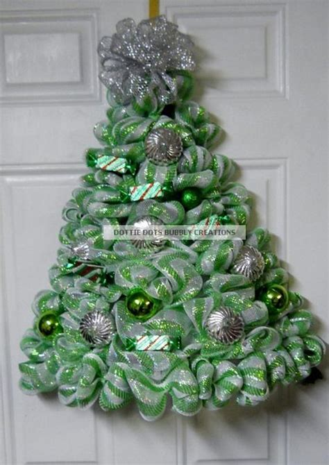 when to put deco wreath on christmas tree lime green white striped metallic mesh door wall lighted