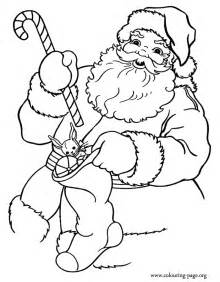 Christmas santa claus holding gifts coloring page