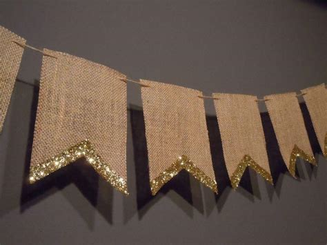Unique Wedding Banner by Unique Cardstock Paper 8 Pennant Flag Gold Glitter Edge