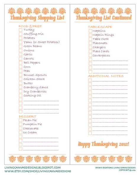 Shiva S Creations Living Canvas Designs Free Printable Thanksgiving Prep Thanksgiving Checklist Template