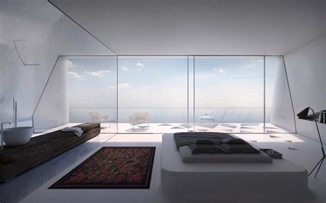 futuristic home interior bedroom with a view modern holiday house greece interior